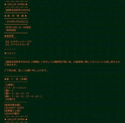 ギャロップジャパン_中京12R_超限定回収率3000%買い目_悪質2ch競馬予想の検証